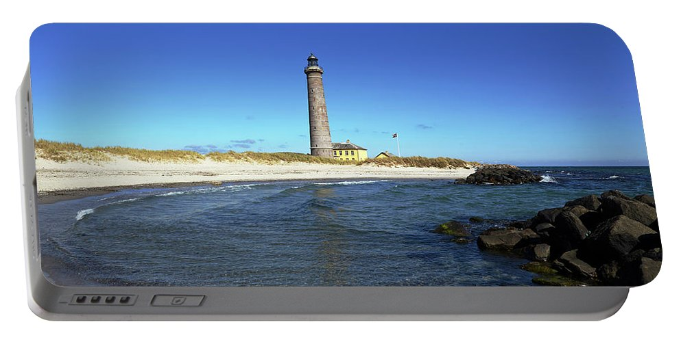 Skagen Portable Battery Charger featuring the photograph Skagen Denmark - Lighthouse Grey Tower by Olaf Schulz