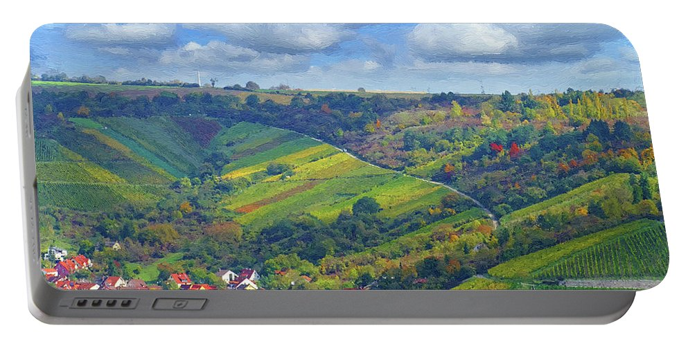 Nature Portable Battery Charger featuring the digital art Small Town by Alex Lim