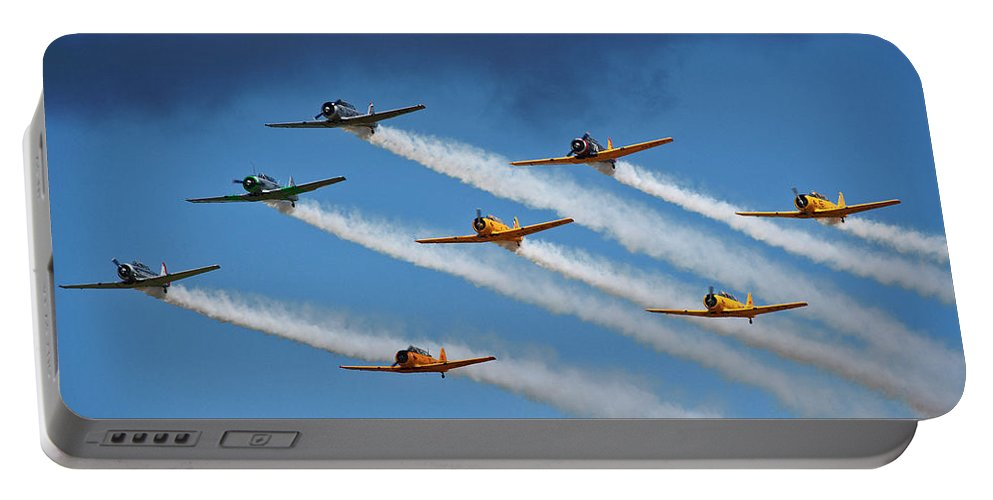 Snj T-6 Texan Portable Battery Charger featuring the photograph Snj T-6 Texan And Canadian Harvard Aerobatic Team by Bruce Beck