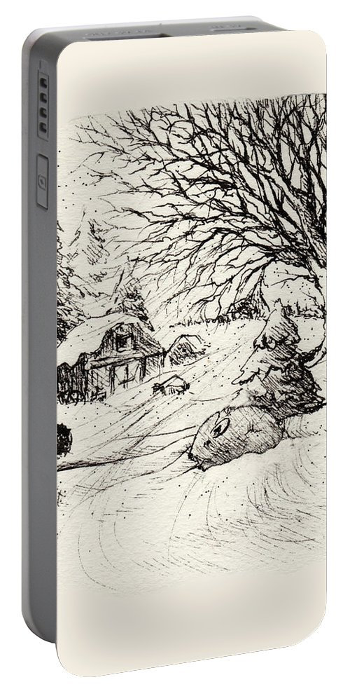 Snow Portable Battery Charger featuring the drawing Snow Bunny by Rachel Christine Nowicki