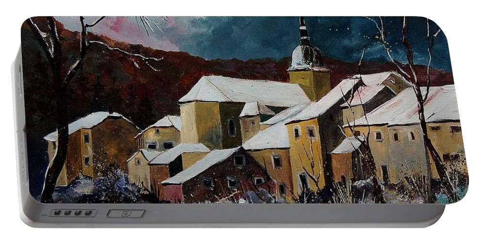 Winter Portable Battery Charger featuring the painting Snow In Chassepierre by Pol Ledent
