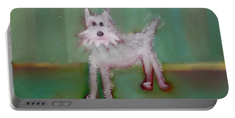 White Puppy Portable Battery Charger featuring the painting Snowy by Charles Stuart