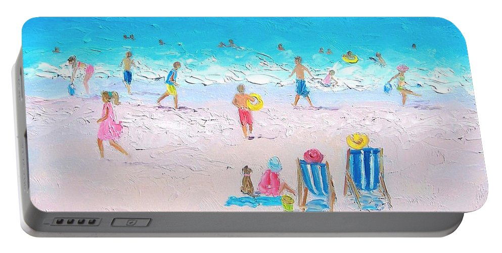 Beach Portable Battery Charger featuring the painting Soaking Up The Sun by Jan Matson