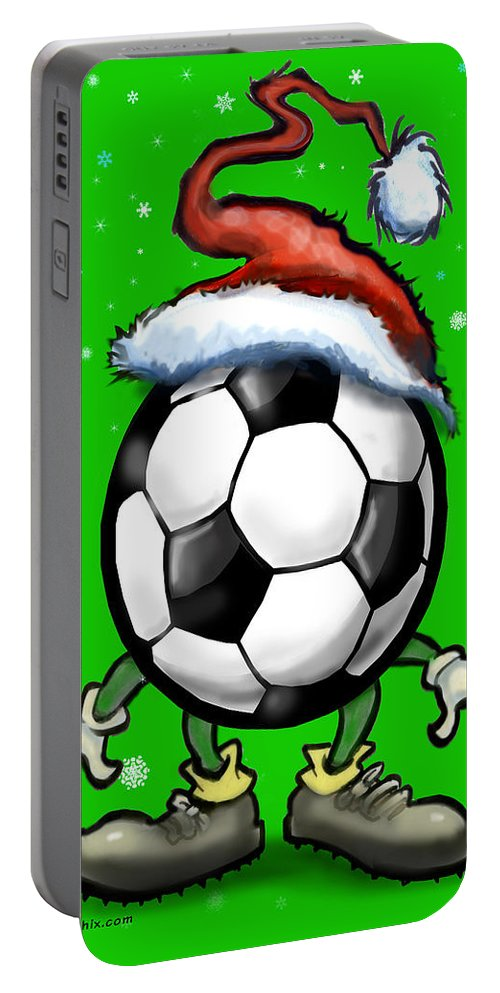 Soccer Portable Battery Charger featuring the greeting card Soccer Christmas by Kevin Middleton
