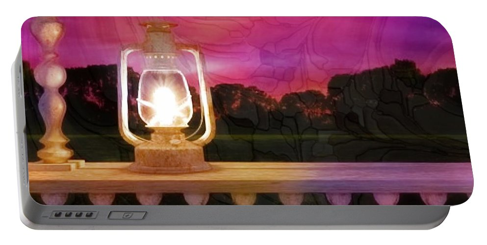 Lamp. Railing Portable Battery Charger featuring the digital art Soft Surrender by Ellen Cannon