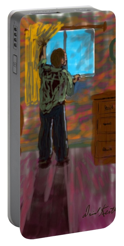Cloistered Lonely Solitary Man Color Window Starring Bedroom Shadow Curtain Mental Depressed Anxiety Portable Battery Charger featuring the digital art Solitude by David R Keith