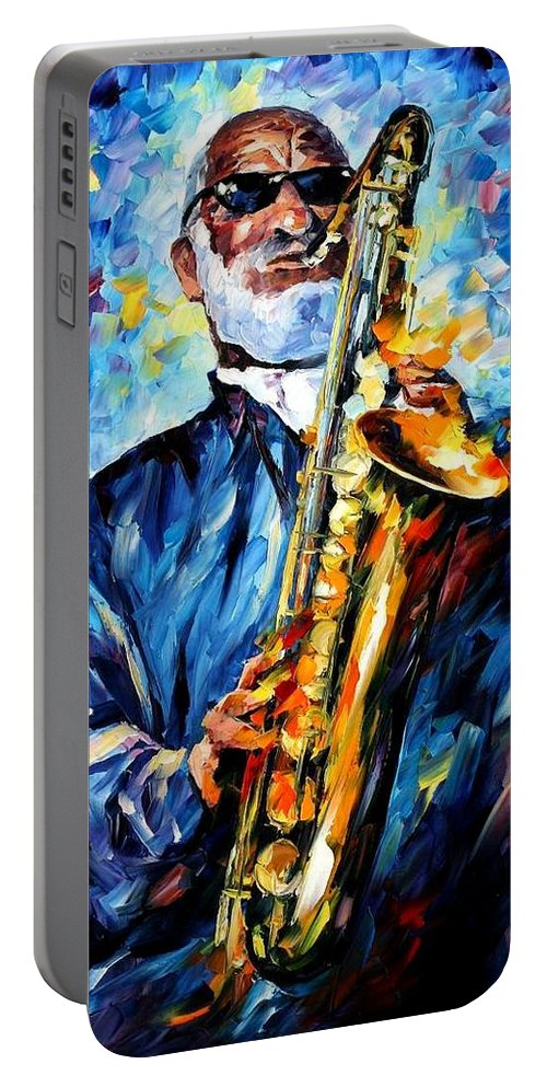 Afremov Portable Battery Charger featuring the painting Sonny Rollins by Leonid Afremov