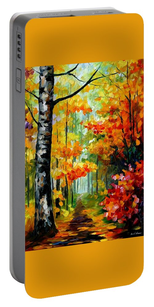 Afremov Portable Battery Charger featuring the painting Soul Time by Leonid Afremov