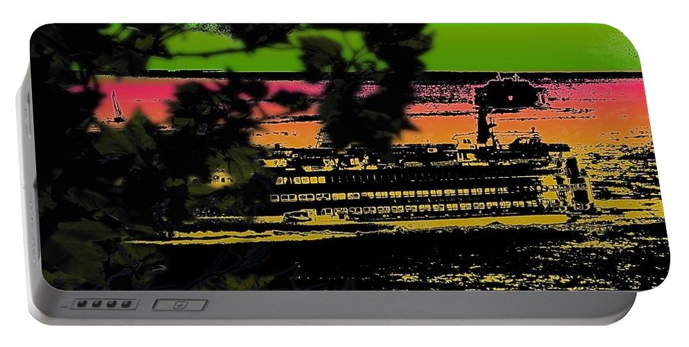 Ferry Portable Battery Charger featuring the digital art Soundside Treehouse View by Tim Allen