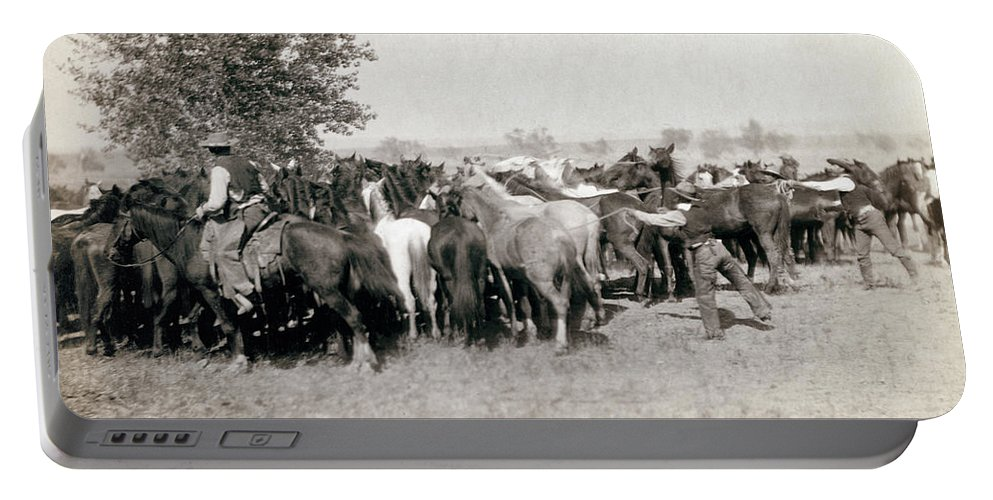 1892 Portable Battery Charger featuring the photograph South Dakota: Cowboys by Granger
