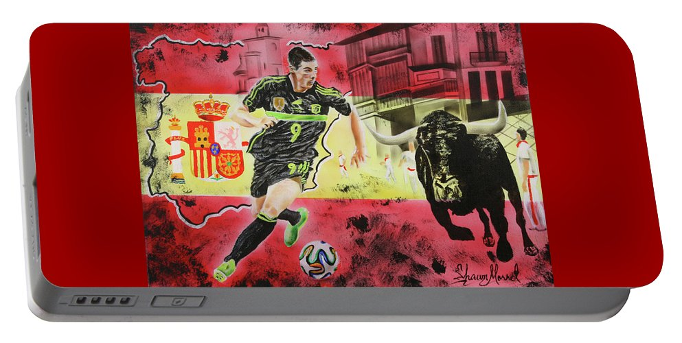Fernando Torres Portable Battery Charger featuring the painting Spain by Shawn Morrel