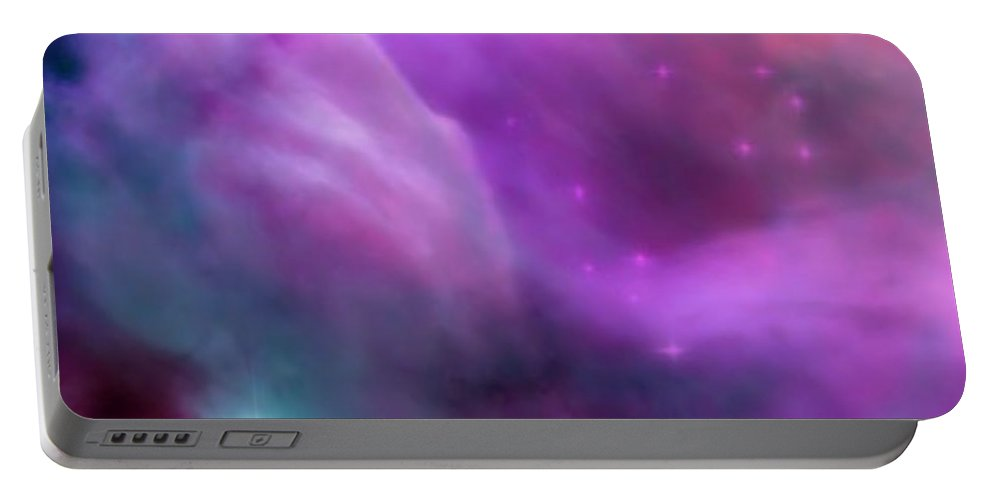 Spiritual Portable Battery Charger featuring the digital art Nebula Dreamscape by Rachel Fowler-keene