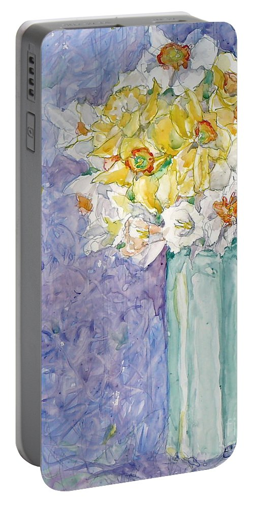 Watercolor Portable Battery Charger featuring the painting Spring Blossoms by Jan Bennicoff