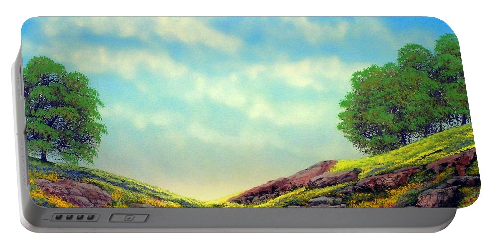 Landscape Portable Battery Charger featuring the painting Spring Day by Frank Wilson