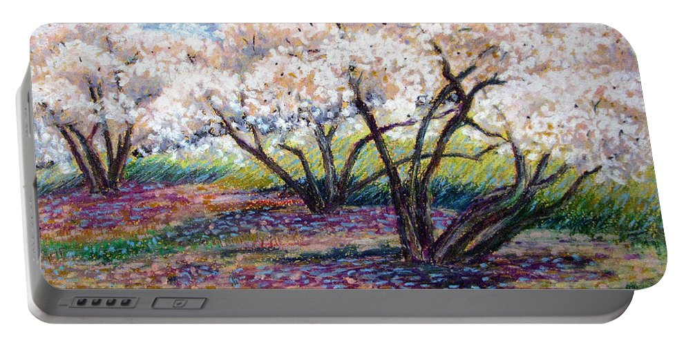Oil Pastel Portable Battery Charger featuring the painting Spring Has Sprung by Art Nomad Sandra Hansen