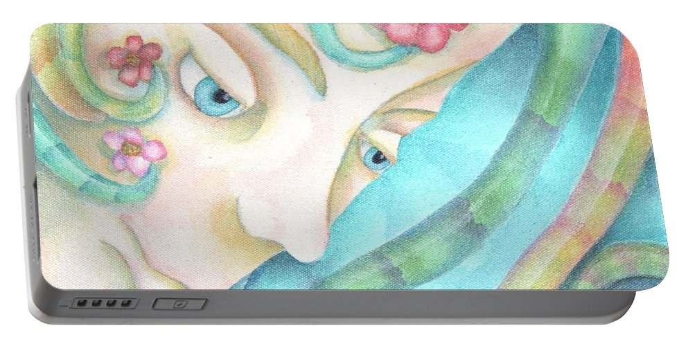 Sprite Portable Battery Charger featuring the painting Sprite Of Kind Thoughts by Jeniffer Stapher-Thomas