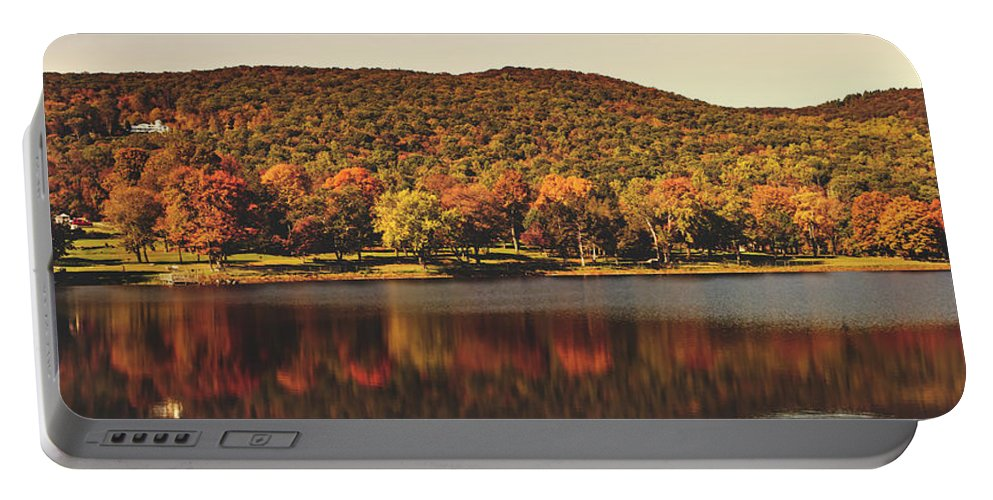Squantz Pond Portable Battery Charger featuring the photograph Squantz Pond In Autumn by Library Of Congress