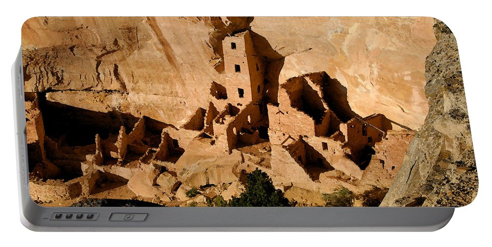 Square Tower Ruin Portable Battery Charger featuring the painting Square Tower Ruin by David Lee Thompson