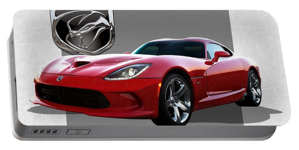 'dodge Viper' By Serge Averbukh Portable Battery Charger featuring the photograph S R T Viper with 3 D Badge by Serge Averbukh