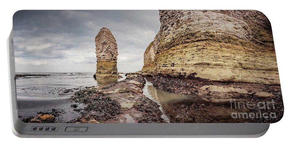 Cliffs Portable Battery Charger featuring the photograph Stack And Chalk Cliff by Mariusz Talarek