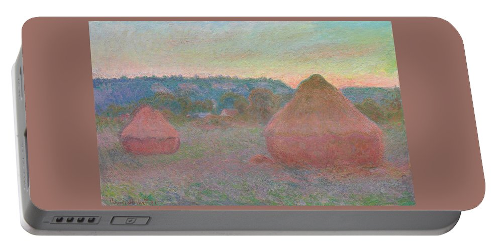 Claude Monet Portable Battery Charger featuring the painting Stacks Of Wheat, End Of Day, Autumn by Claude Monet