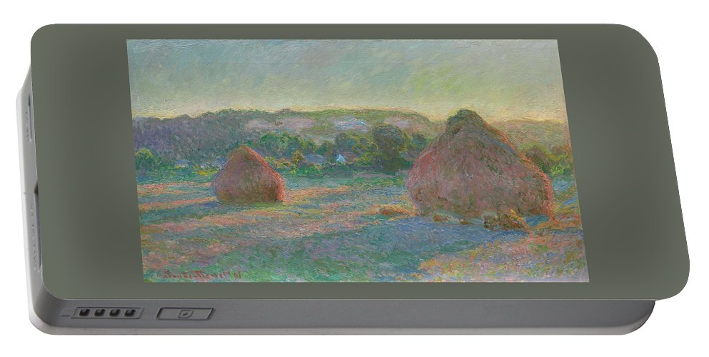 Claude Monet Portable Battery Charger featuring the painting Stacks Of Wheat, End Of Summer by Claude Monet