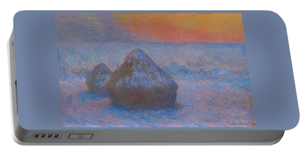 Claude Monet Portable Battery Charger featuring the painting Stacks Of Wheat, Sunset, Snow Effect by Claude Monet