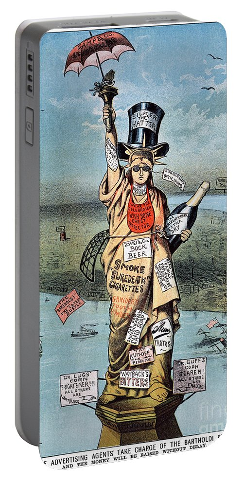 19th Century Portable Battery Charger featuring the photograph Statue Of Liberty Cartoon by Granger