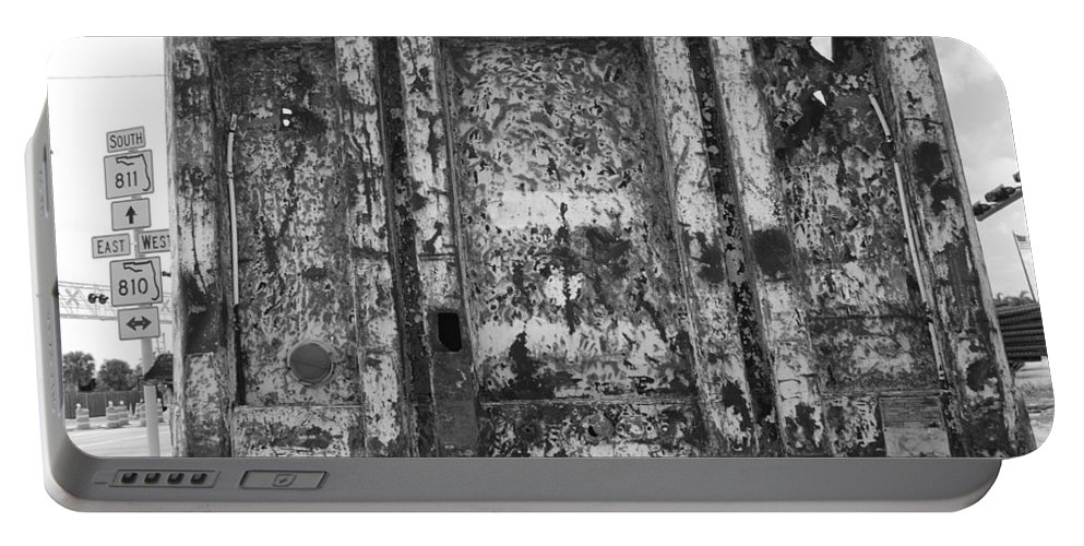 Black And White Portable Battery Charger featuring the photograph Steele Wall by Rob Hans