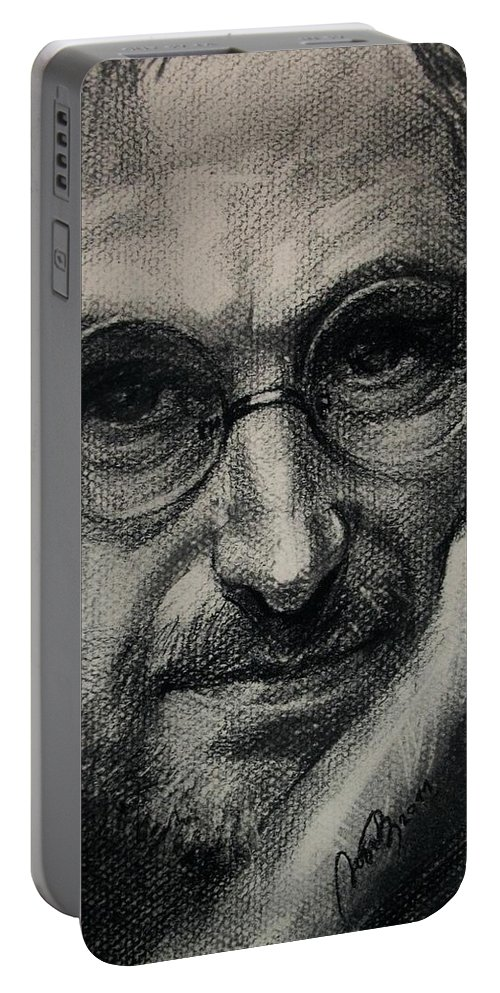 Drawing Portable Battery Charger featuring the drawing Steve Jobs by Lyubov Rasic