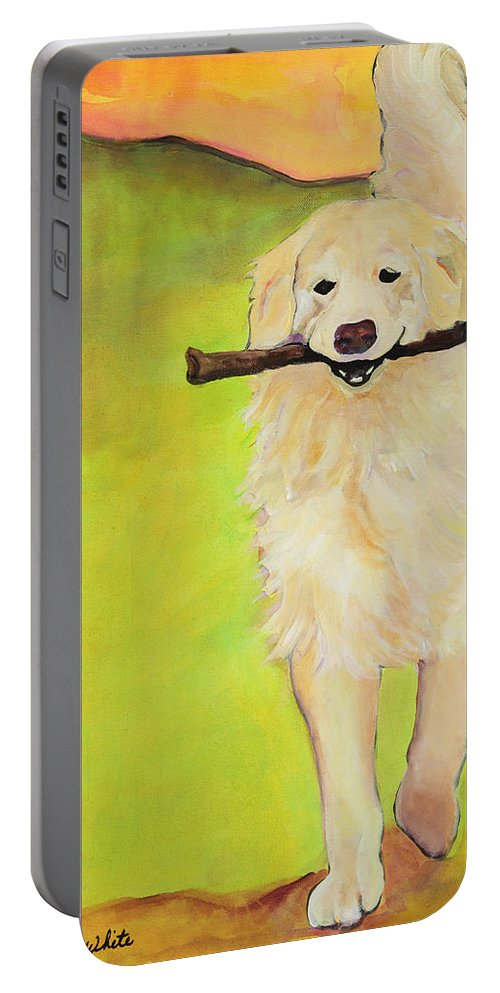 Dog Portraits Portable Battery Charger featuring the painting Stick Together by Pat Saunders-White