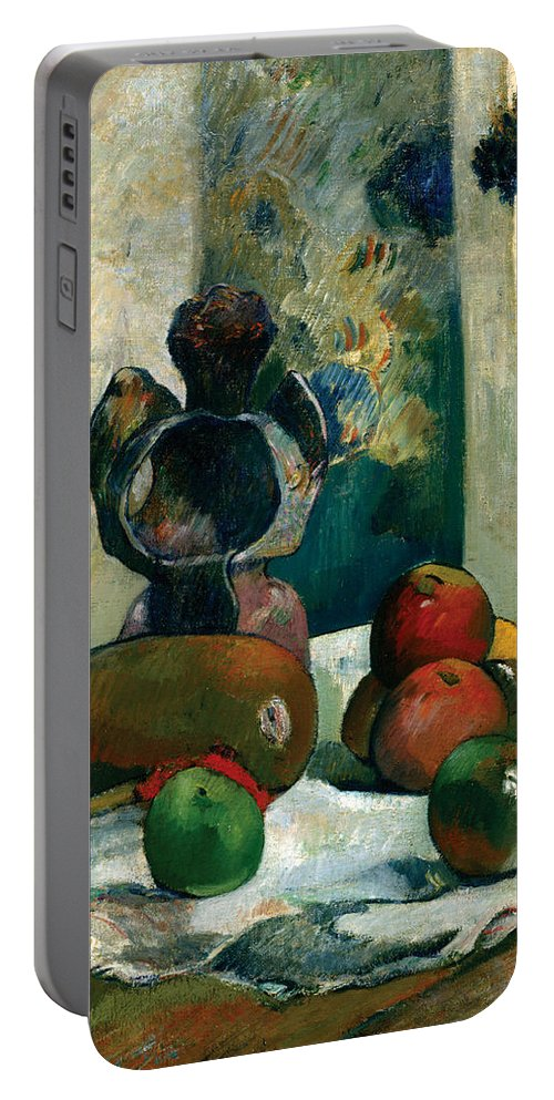 Cloth Portable Battery Charger featuring the painting Still Life With Profile Of Laval by Paul Gauguin