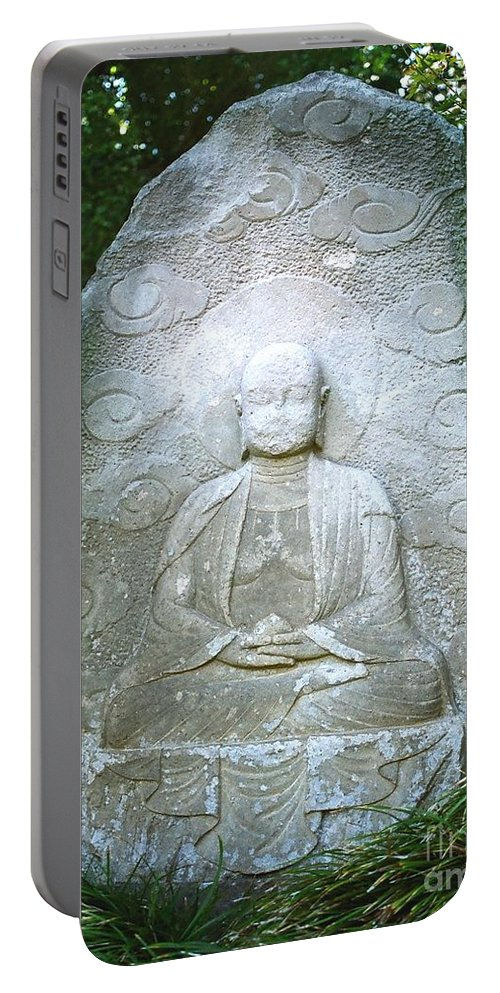 Stone Portable Battery Charger featuring the photograph Stone Buddha by Dean Triolo