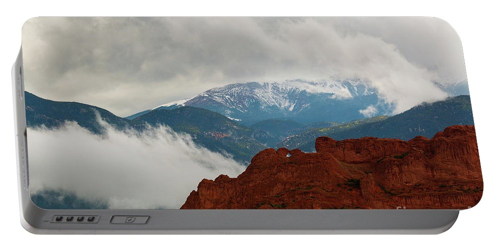 Garden Of The Gods Portable Battery Charger featuring the photograph Storm Brewing At Garden Of The Gods by Steve Krull
