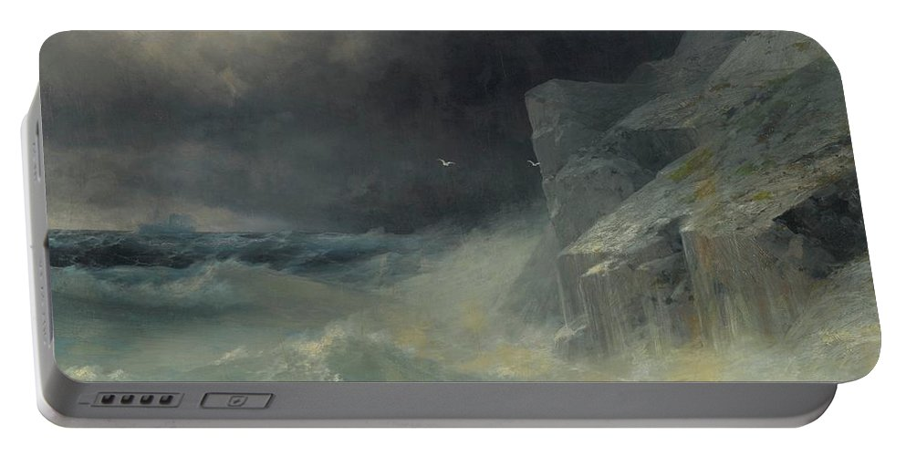 Ivan Konstantinovich Aivazovsky 1817-1900 Stormy Seas Portable Battery Charger featuring the painting Stormy Seas by MotionAge Designs