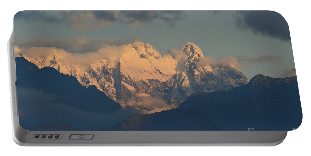 Mountains Portable Battery Charger featuring the photograph Stunning Landscape In The Italian Alps With A Cloudy Sky by DejaVu Designs