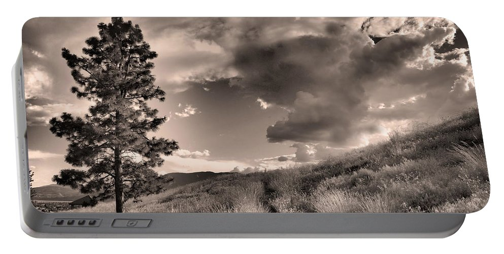 Sepia Portable Battery Charger featuring the photograph Summer Skies by Tara Turner