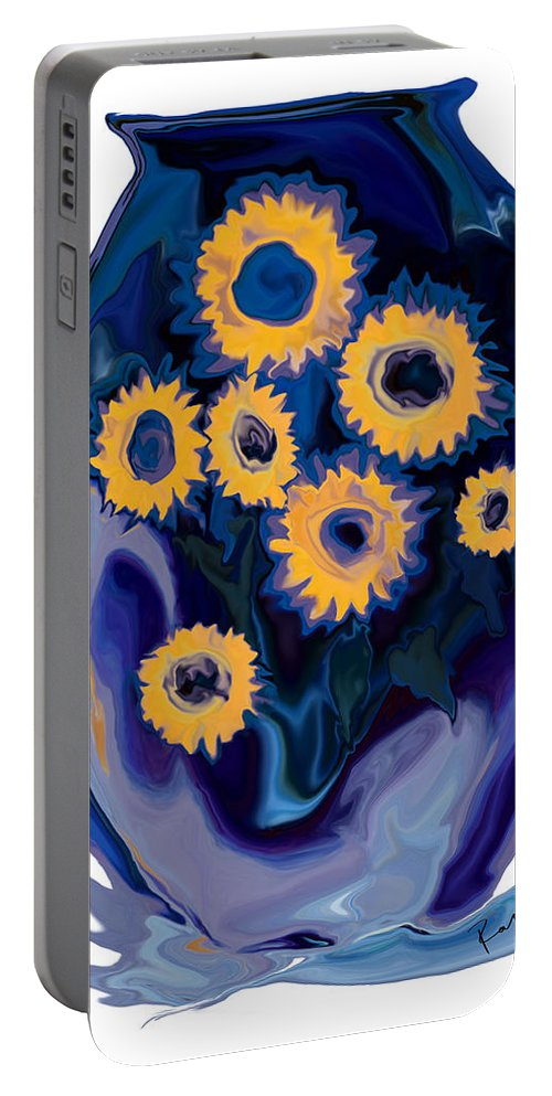 Art Portable Battery Charger featuring the digital art Sunflower 1 by Rabi Khan