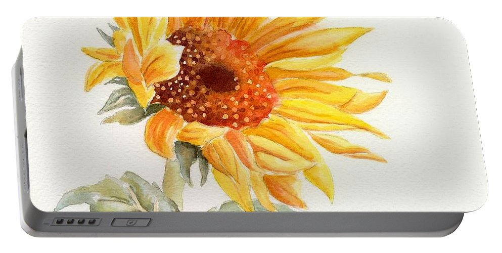 Sunflower Portable Battery Charger featuring the painting Sunflower by Deborah Ronglien