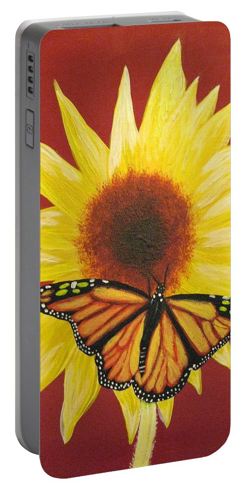 Sunflower Portable Battery Charger featuring the painting Sunflower Monarch by Debbie Levene