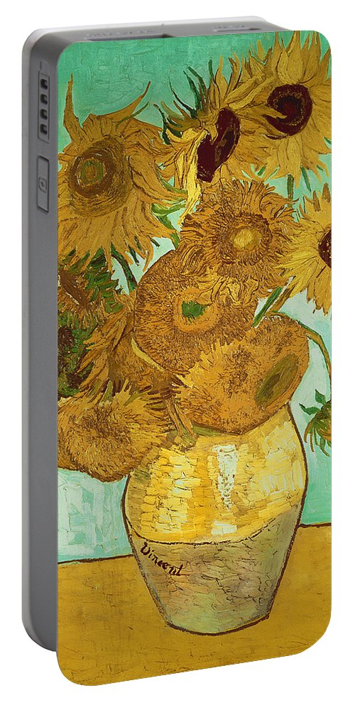 Sunflowers Portable Battery Charger featuring the painting Sunflowers By Van Gogh by Vincent Van Gogh
