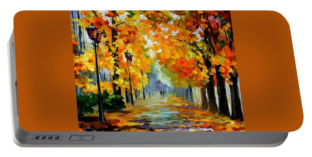 Afremov Portable Battery Charger featuring the painting Sunny October by Leonid Afremov