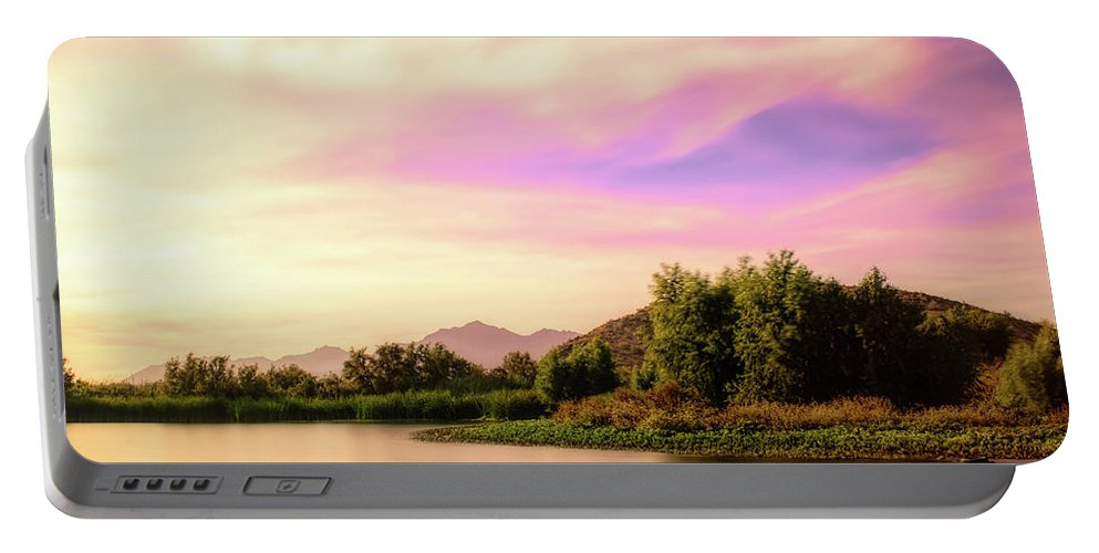 Arizona Portable Battery Charger featuring the photograph Sunrise On The Gila by Ken Mickel