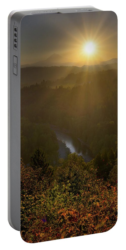 Mount Hood Portable Battery Charger featuring the photograph Sunrise Over Mount Hood And Sandy River by David Gn
