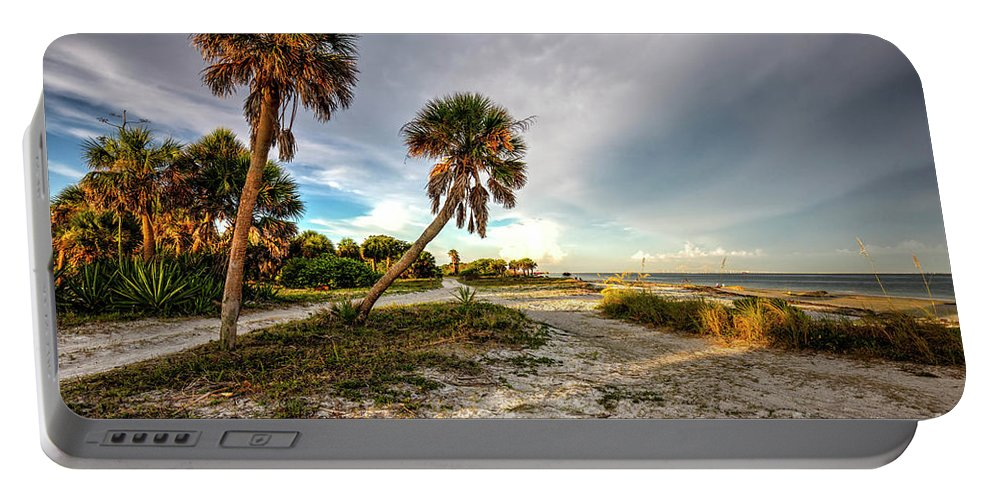 Sunset At The Beach Portable Battery Charger featuring the photograph Sunset At The Beach by Felix Lai