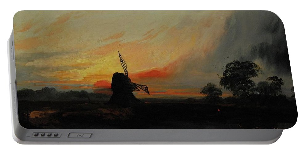 Henry Bright (1814 - 1873) Sunset By The Windmill Portable Battery Charger featuring the painting Sunset By The Windmill by MotionAge Designs