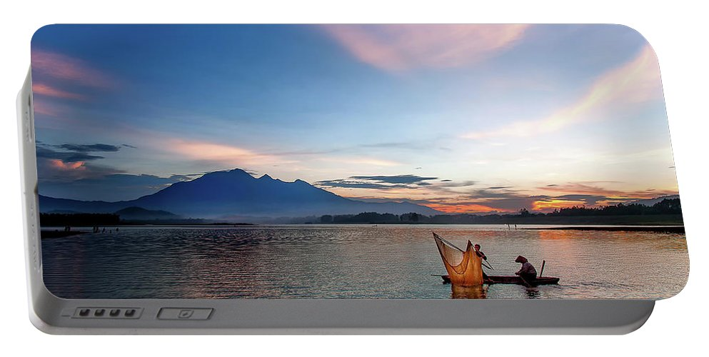 Sunset. Vietnam. Lake Portable Battery Charger featuring the photograph Sunset by Kim Le