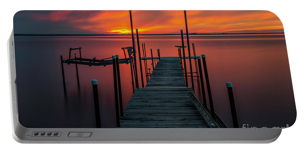 Sunset Portable Battery Charger featuring the photograph Sunset On The Bay by Randy Kostichka