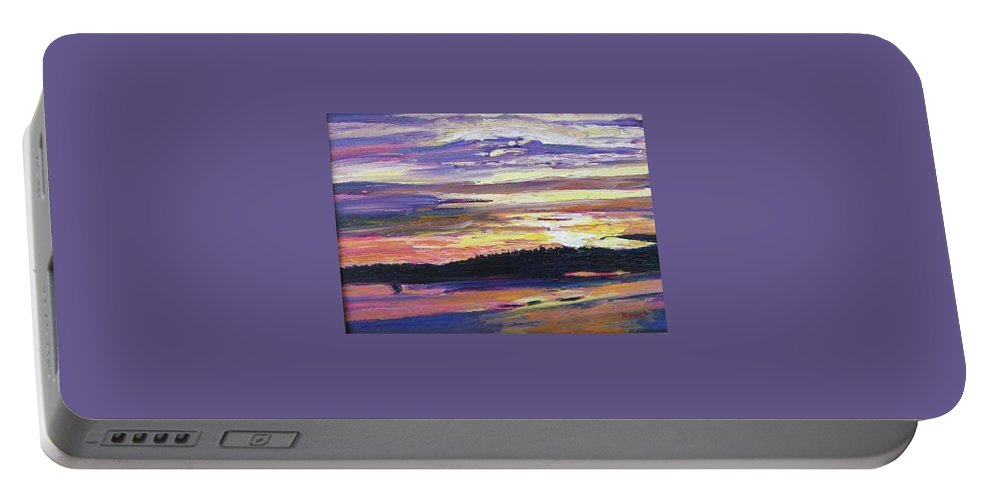 Sunset Portable Battery Charger featuring the painting Sunset by Richard Nowak