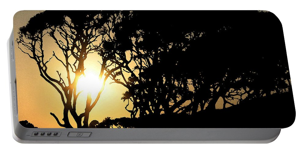 Tree Portable Battery Charger featuring the digital art Sunset Silhouette by Stacey May